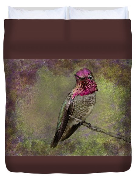 Duvet Cover featuring the photograph Anna's Hummingbird by Barbara Manis