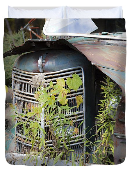 Duvet Cover featuring the photograph Antique Mack Truck by Charles Harden