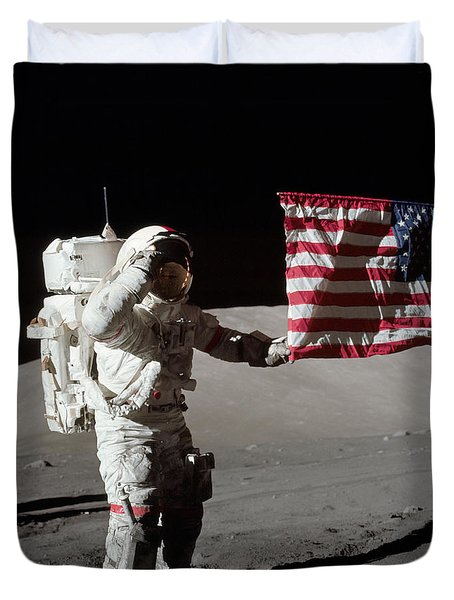 Apollo 17 Astronaut Salutes The United Duvet Cover