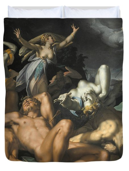 Apollo And Diana Punishing Niobe By Killing Her Children Duvet Cover