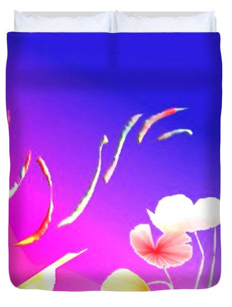 Duvet Cover featuring the digital art Aqua Flora by Asok Mukhopadhyay