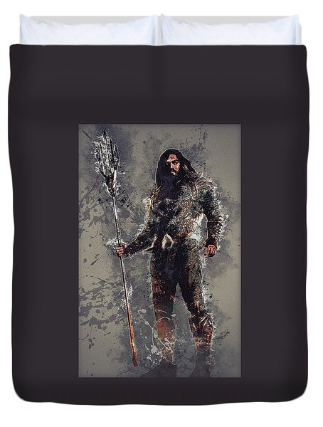 Aquaman Duvet Cover by Elena Kosvincheva