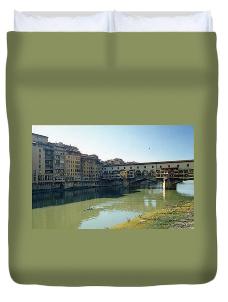 Duvet Cover featuring the photograph Arno River In Florence Italy by Marna Edwards Flavell