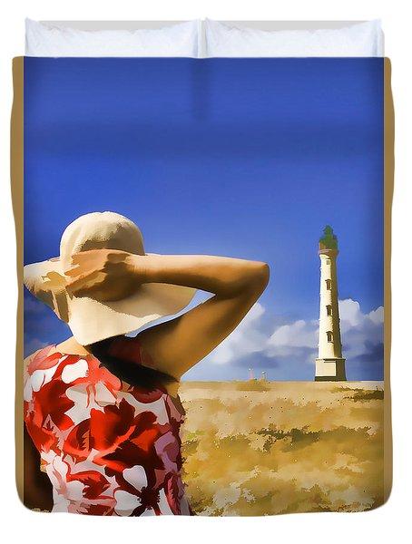 Aruba Lighthouse Duvet Cover by Dennis Cox WorldViews