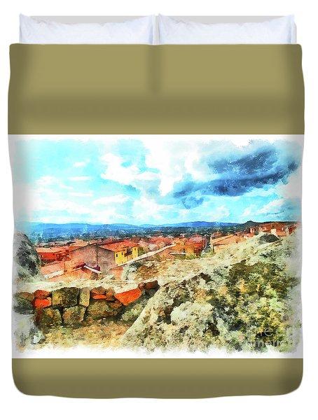 Arzachena Landscape With Clouds Duvet Cover