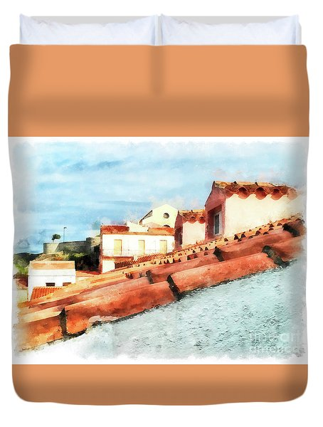 Arzachena Roof And Church Duvet Cover
