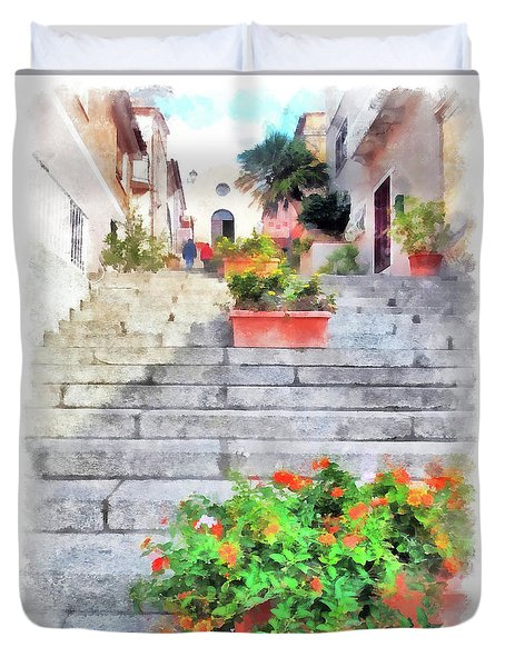 Arzachena Staircase And Church Of The Santa Lucia Duvet Cover