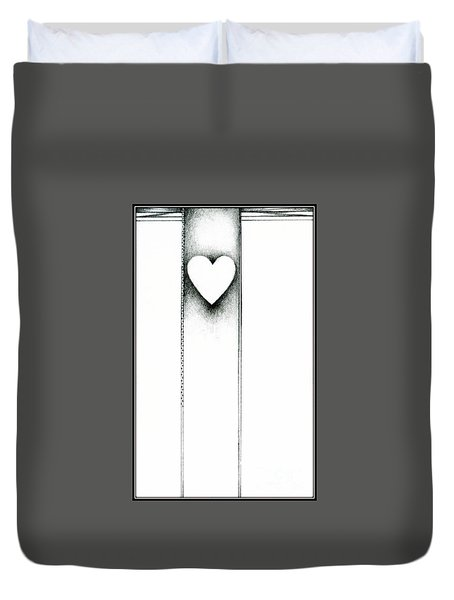 Duvet Cover featuring the drawing Ascending Heart by James Lanigan Thompson MFA