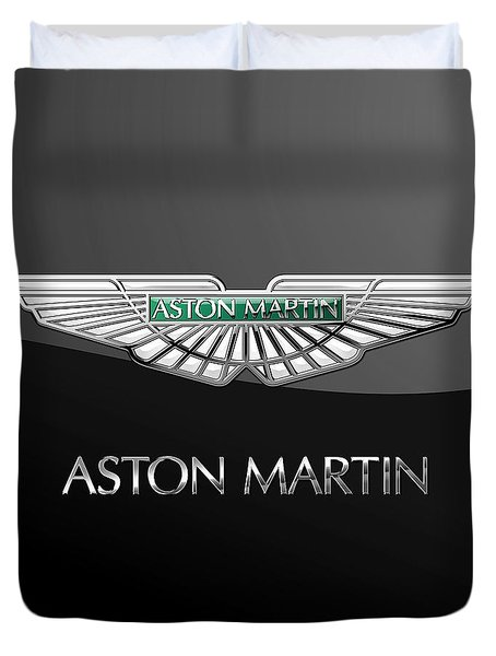 Aston Martin 3 D Badge On Black  Duvet Cover by Serge Averbukh