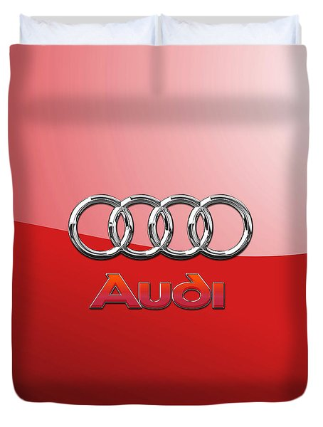 Audi - 3d Badge On Red Duvet Cover by Serge Averbukh
