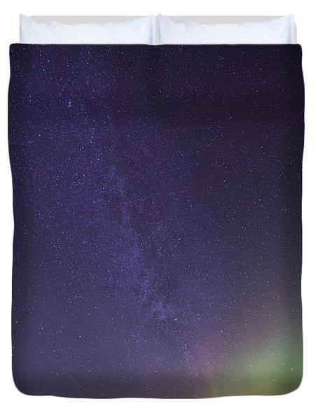 Aurora Borealis And Milky Way Duvet Cover by Jonathan Tucker