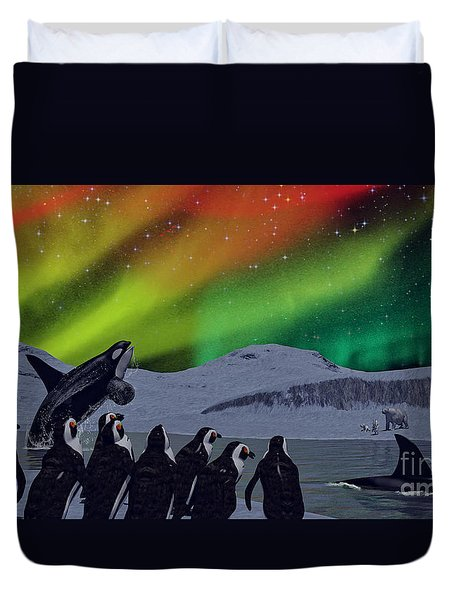 Duvet Cover featuring the digital art Aurora Borealis by Methune Hively