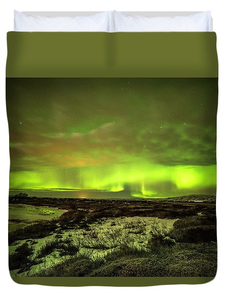 Aurora Borealis Over A Frozen Lake Duvet Cover