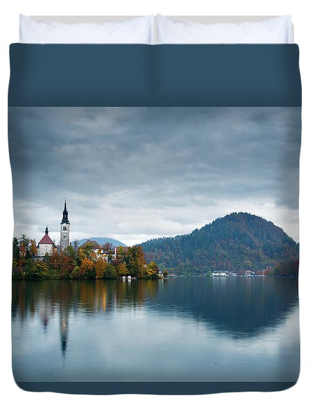 Autumn Colours At Lake Bled Duvet Cover