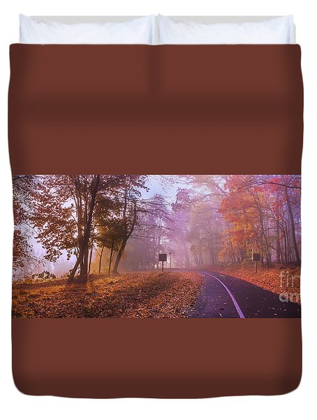 Duvet Cover featuring the photograph Autumn Morning by Rima Biswas