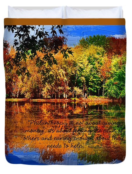 Autumn Serenity Painted Duvet Cover by Diane E Berry
