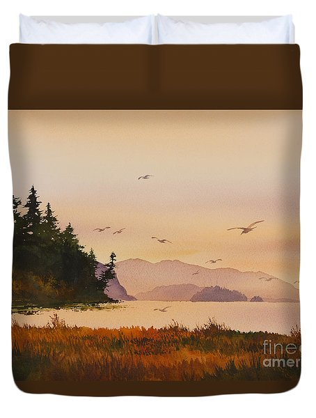 Duvet Cover featuring the painting Autumn Shore by James Williamson