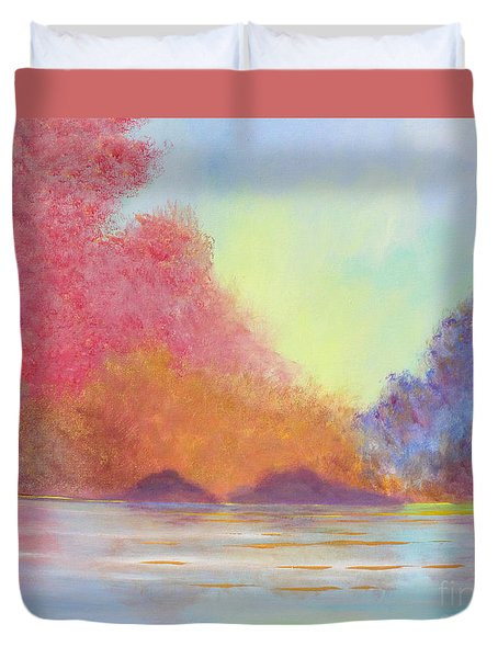 Duvet Cover featuring the painting Autumn's Aura by Stacey Zimmerman