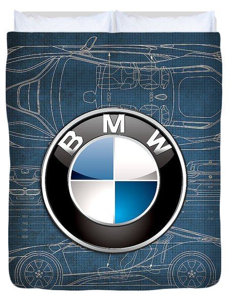 B M W 3 D Badge Over B M W I8 Blueprint  Duvet Cover by Serge Averbukh