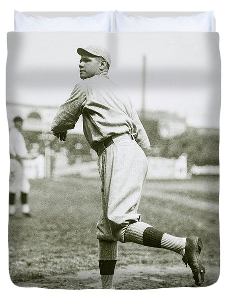 Babe Ruth Pitching Duvet Cover