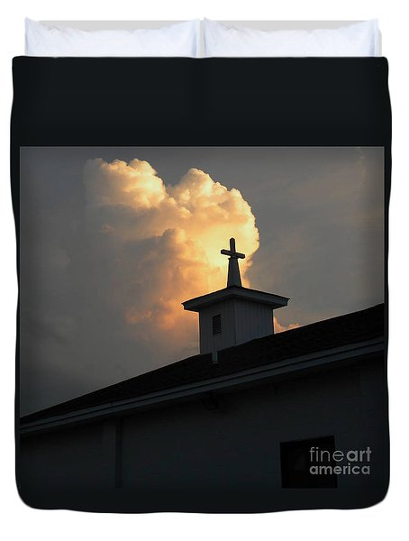 Reaching Baby Angel At The Cross Duvet Cover