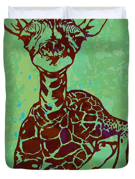 Baby Giraffe - Pop Modern Etching Art Poster Duvet Cover by Kim Wang
