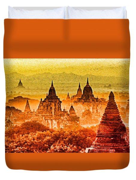 Bagan Pagodas Duvet Cover by Dennis Cox WorldViews