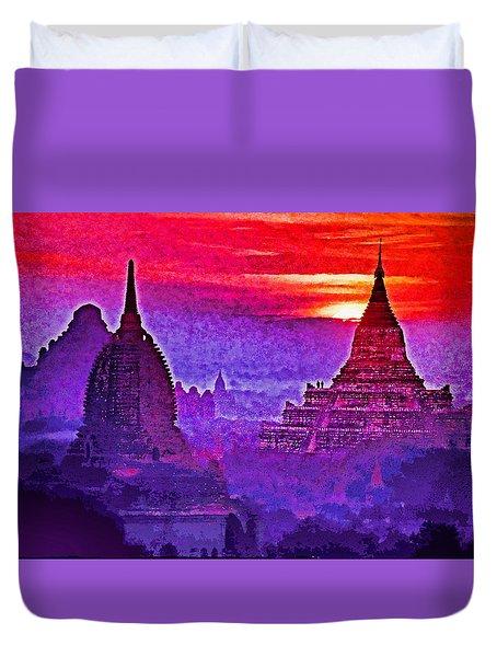 Bagan Sunrise Duvet Cover by Dennis Cox WorldViews