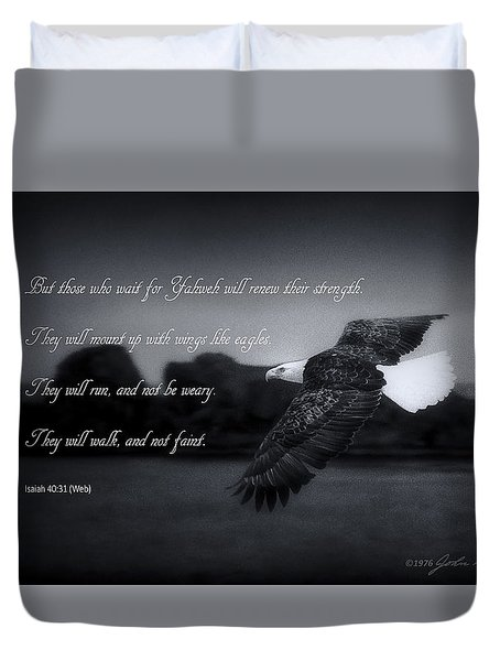 Bald Eagle In Flight With Bible Verse Duvet Cover by John A Rodriguez