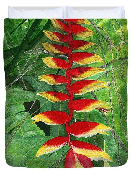 Duvet Cover featuring the painting Balinese Heliconia Rostrata by Melly Terpening