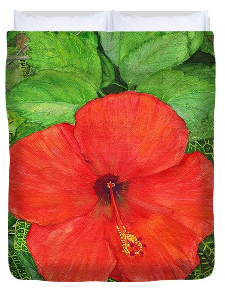 Duvet Cover featuring the painting Balinese Hibiscus Rosa by Melly Terpening