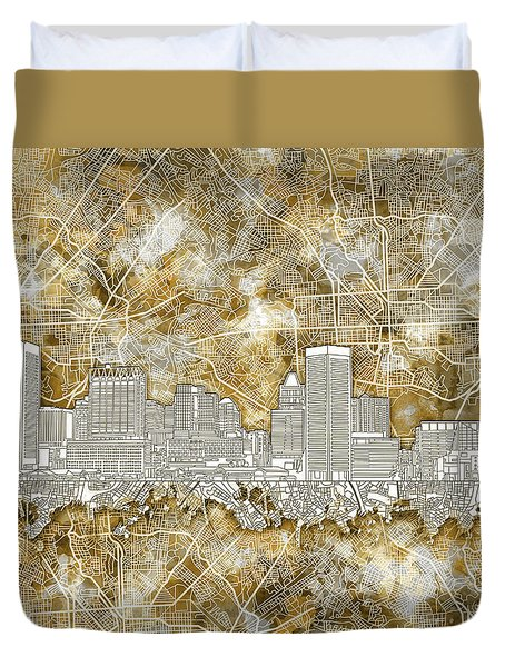 Duvet Cover featuring the painting Baltimore Skyline Watercolor 13 by Bekim Art
