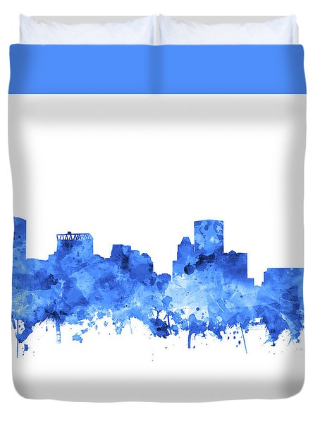 Duvet Cover featuring the painting Baltimore Skyline Watercolor 7 by Bekim Art