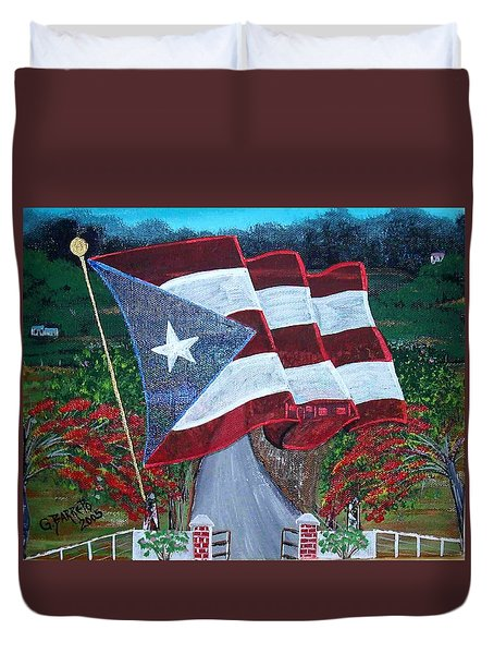 Bandera De Puerto Rico Duvet Cover