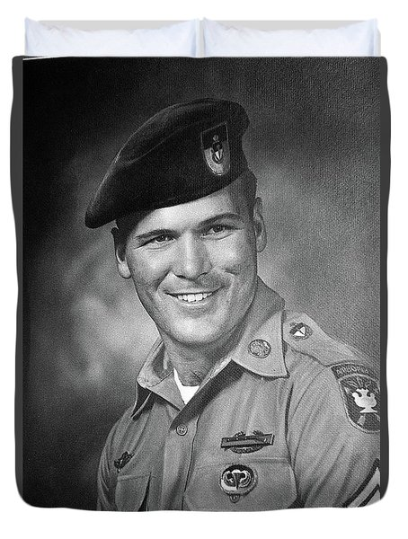 Barry Sadler Photo In Green Beret Uniform Circa 1965 Duvet Cover
