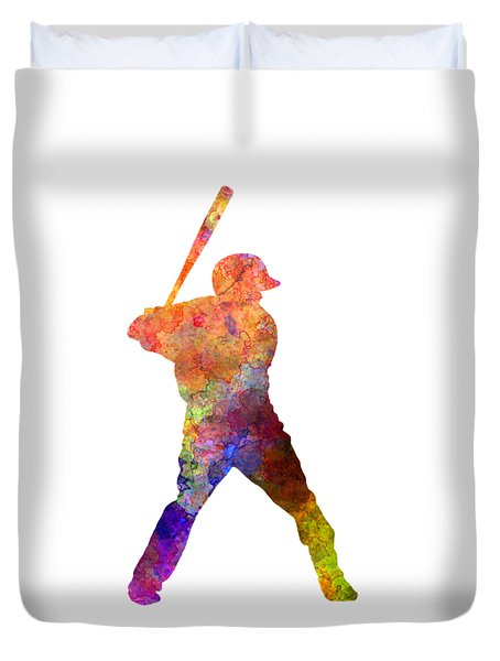 Baseball Player Waiting For A Ball Duvet Cover by Pablo Romero