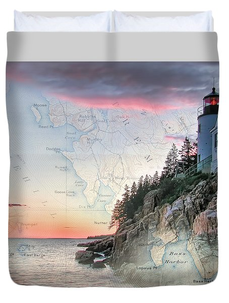 Duvet Cover featuring the photograph Bass Harbor Lighthouse On A Chart by Jeff Folger