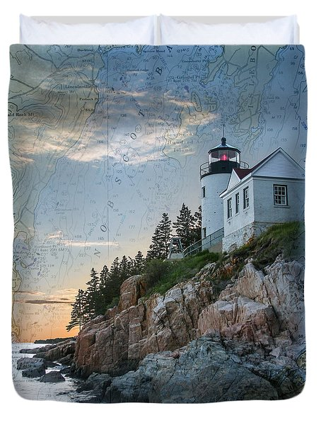 Duvet Cover featuring the photograph Bass Harbor Lighthouse On Maine Nautical Chart by Jeff Folger