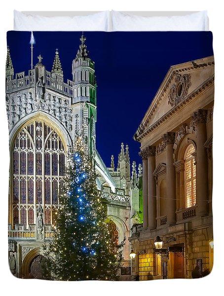 Bath Abbey At Night At Christmas Duvet Cover