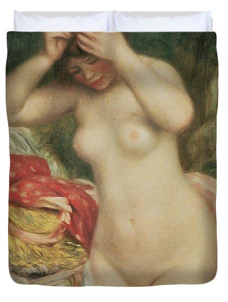 Bather Arranging Her Hair Duvet Cover by Pierre Auguste Renoir