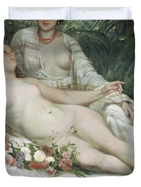 Bathers Or Two Nude Women Duvet Cover by Gustave Courbet