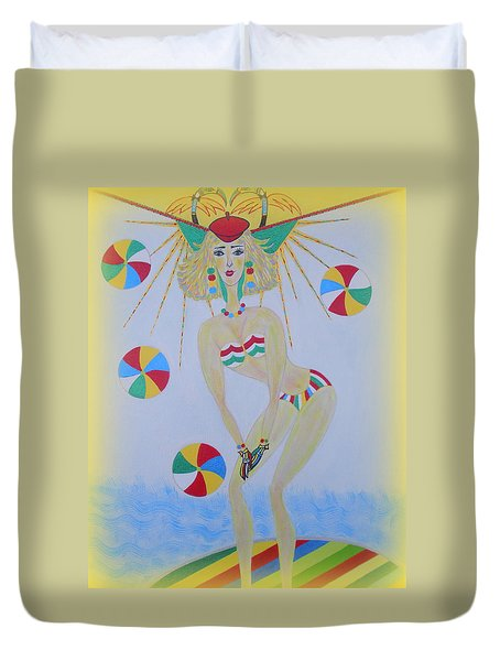 Duvet Cover featuring the painting Beach Ball Surfer by Marie Schwarzer