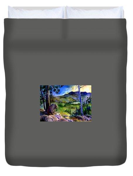 Bearly Light At Castle Peak Duvet Cover