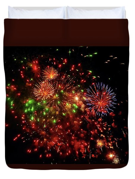 Beautiful Fireworks Against The Black Sky Of The New Year Duvet Cover