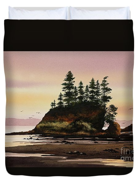 Duvet Cover featuring the painting Beautiful Shore by James Williamson