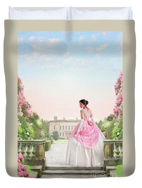 Beautiful Victorian Woman In The Garden Duvet Cover