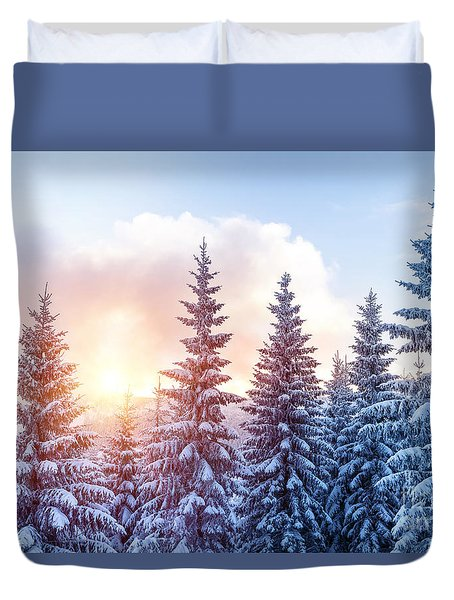 Beautiful Winter Forest Duvet Cover