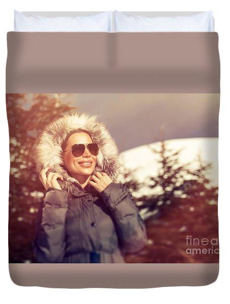 Beautiful Woman In Winter Park Duvet Cover