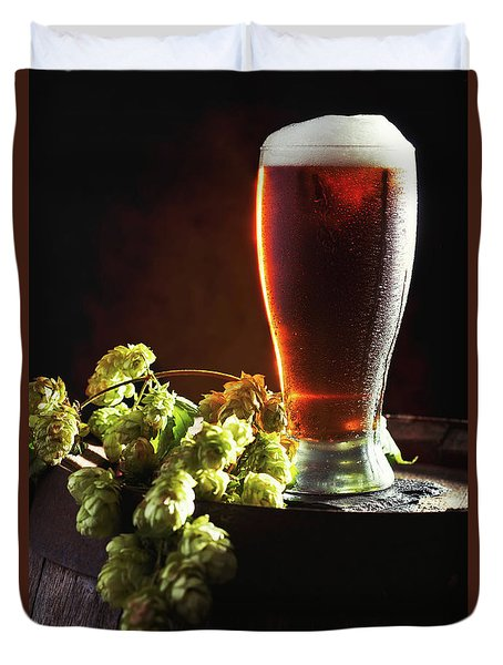 Beer And Hops On Barrel Duvet Cover