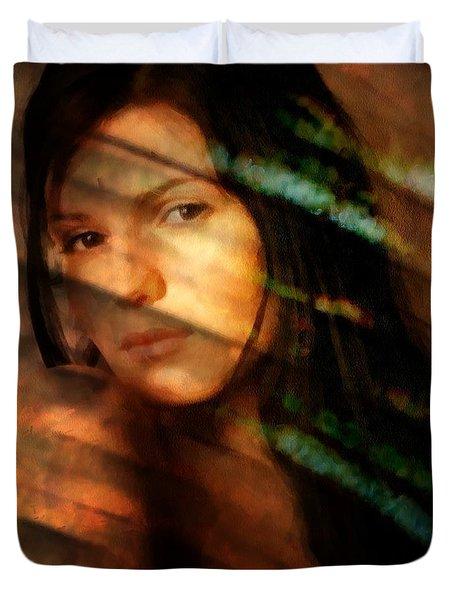 Duvet Cover featuring the digital art Behind The Curtain by Gun Legler